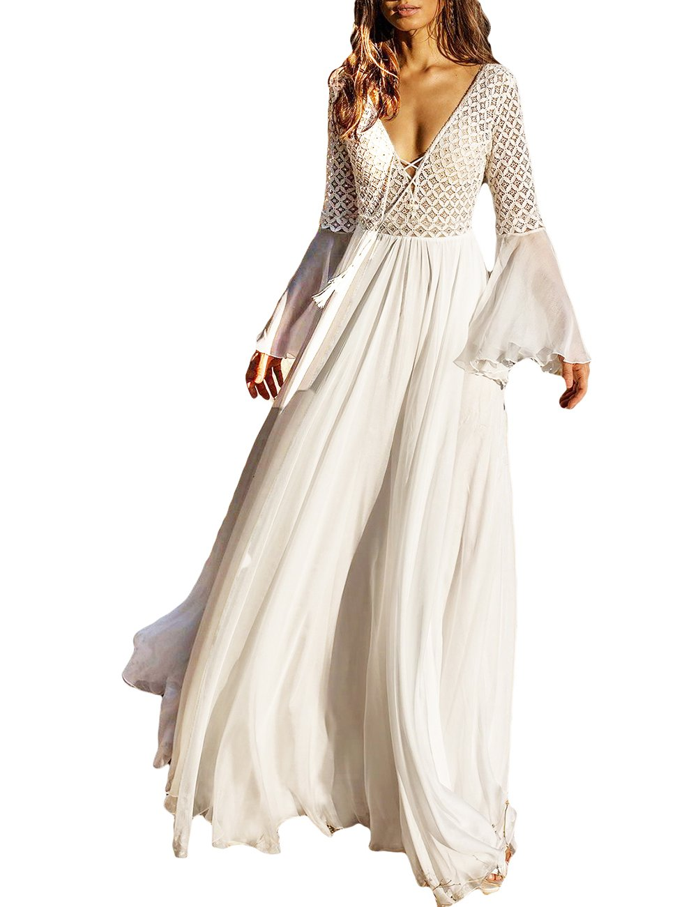 Bsubseach White Chiffon Bell Sleeve Beach Long Dresses for Women Sexy Deep V Neck Hollow Out Beachwear Swimwear Cover Up Dress