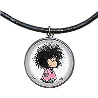 Colgante de Acero, 30mm, Cordón de cuero,Hecho a mano, Ilustración Mafalda