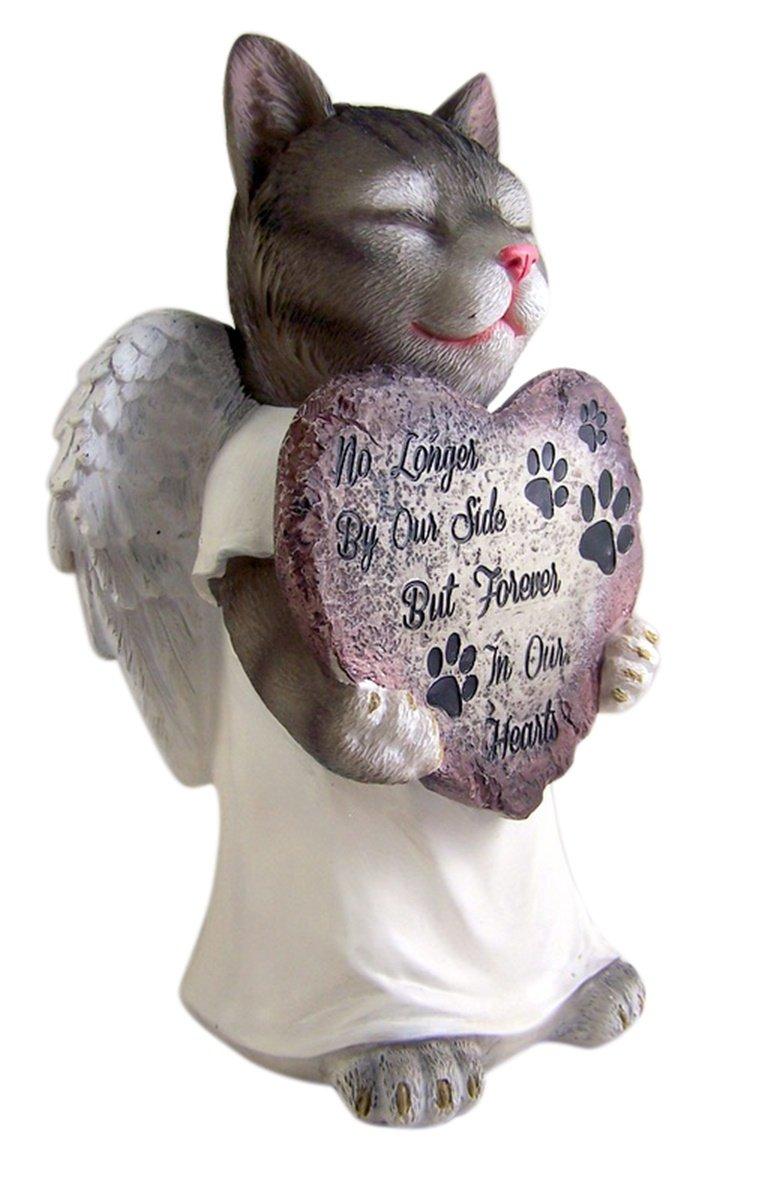 Resin Pet Cat With Angel Wings Memorial Garden Statue 10.75 Inch