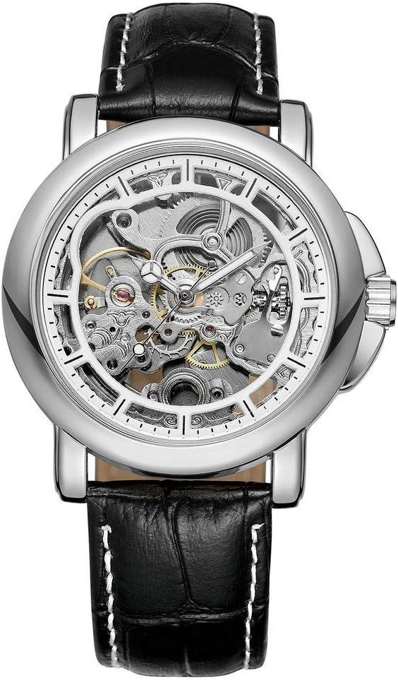 Yikuo Reloj Mecánico para Hombres/Moda Hueco A Través De La Parte Inferior De La Mesa De Cinturón De Negocios/Diseño Impermeable De 30 M/Buen Material, Práctico Y Duradero Delicado (Color : Silver)