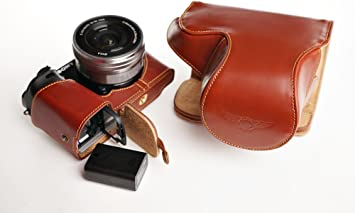Handmade Genuine Real Leather Full Camera Case Bag Cover for Sony A6300 with 16-50mm Lens Black Color