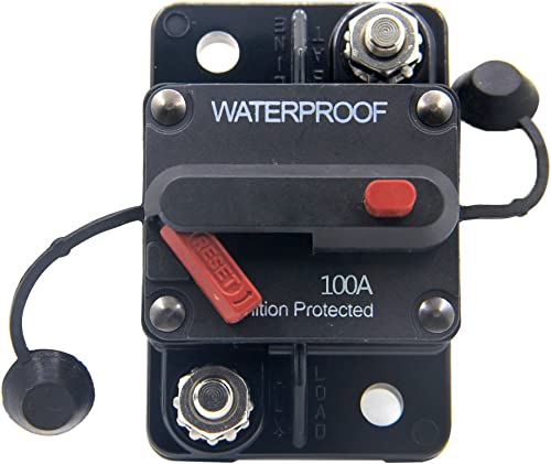 RKURCK 12V-48V DC 100 Amps Waterproof Circuit Breaker with Manual Reset for Marine Trolling Motors Boat ATV 100A