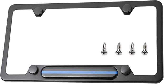 LFPartS Stainless Steel License Plate Frame Black Black Carbon Fiber Domed Insert