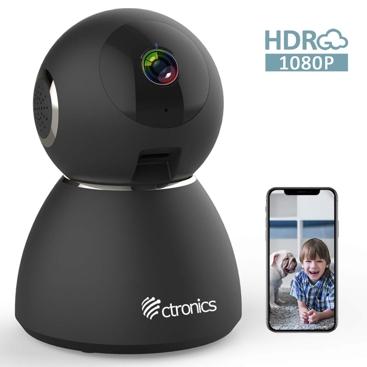 25fps 1080P HDR WiFi Security Camera Indoor, Ctronics IP Security Camera with Upgraded Night Vision, Motion & Sound Detection, Two-Way Audio, 355°Angle for Baby, Pet, Home Surveillance by Ctronics