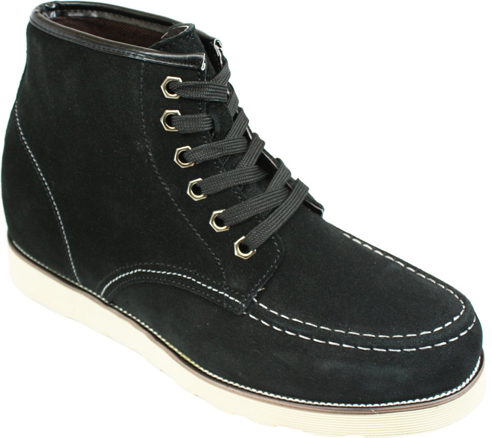 CALDEN - K228063-3 Inches Taller - Size 11 D US - Height Increasing Elevator Shoes (Nubuck Black Lace-up Casual Shoes)