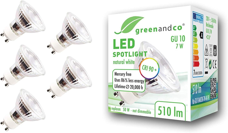 5x Spot LED greenandco® IRC90+ GU10 4000K 36° 7W (corresponde a 60W) 510lm SMD LED 230V AC, sin parpadeo, no regulable