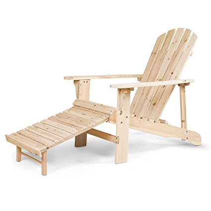 Outstanding Vv Outdoor Adirondack Chair Natural Wood With Pull Out Ottaman For Garden Patio Yard Deck Nature Finish Machost Co Dining Chair Design Ideas Machostcouk