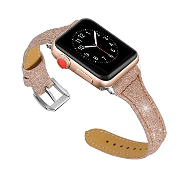 Amazon Com For Apple Watch 40mm Leather Band Rose Gold Apple Watch Bands 38mm 40mm Leather Glitter Bling Sport Smartwatch Replacement Band Wrist Strap Women Jewelry Bracelet Wristband For Iwatch Series 4 3 2 1 Beauty