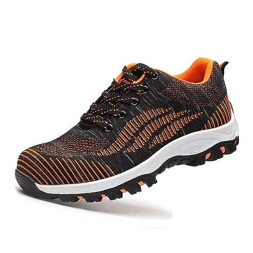 Zapatillas de Seguridad para Hombre Mujer Zapatos de Trabajo con Punta de Acero Antideslizante Calzado Ligeras Comodas Negro Gris Rojo 35-46: Amazon.es: ...