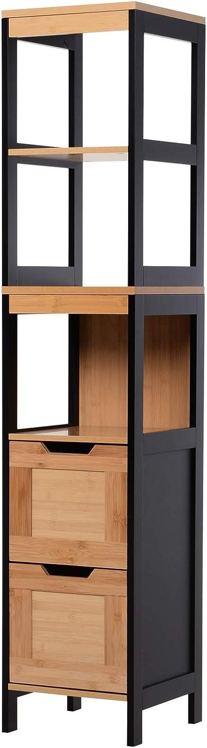 Homcom Meuble Colonne Rangement Salle de Bain Style Cosy dim 32L x 30l x 80H cm Porte /étag/ères Niche Bambou Gris