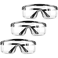 eLUUGIE 3 Packs Anti Fog Protective Goggles Safety Glasses Eye Protection for Workplace Safety Goggles Over Glasses…