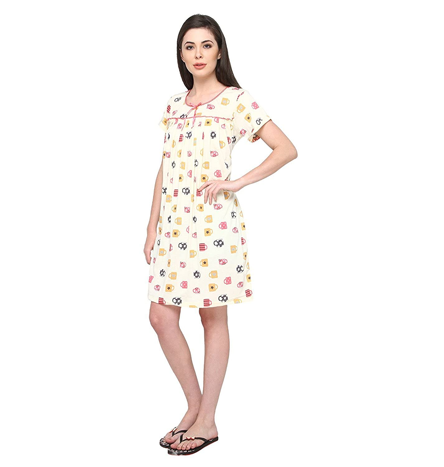 Valentine Women Short Nighty - Knee Length Nighties - Cotton Hoseiry Material  Nightgown - Stylish and Sexy Nightwear - Night Dress for Girls Ladies - by   ... 0903948c9