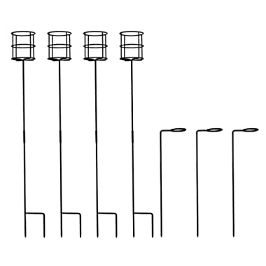ESYLIFE Outdoor 4 Pack Wine Beverage Stakes with 3 Pack Wine Glass Holder, Black