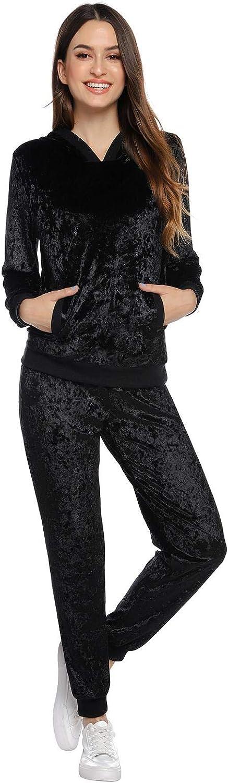 Felpa per Corsa Yoga Pigiama per Casa Completi Sportivi Abbigliamento con Cappuccio Abollria Donna Tute da Ginnastica Invernale 2 Pezzi