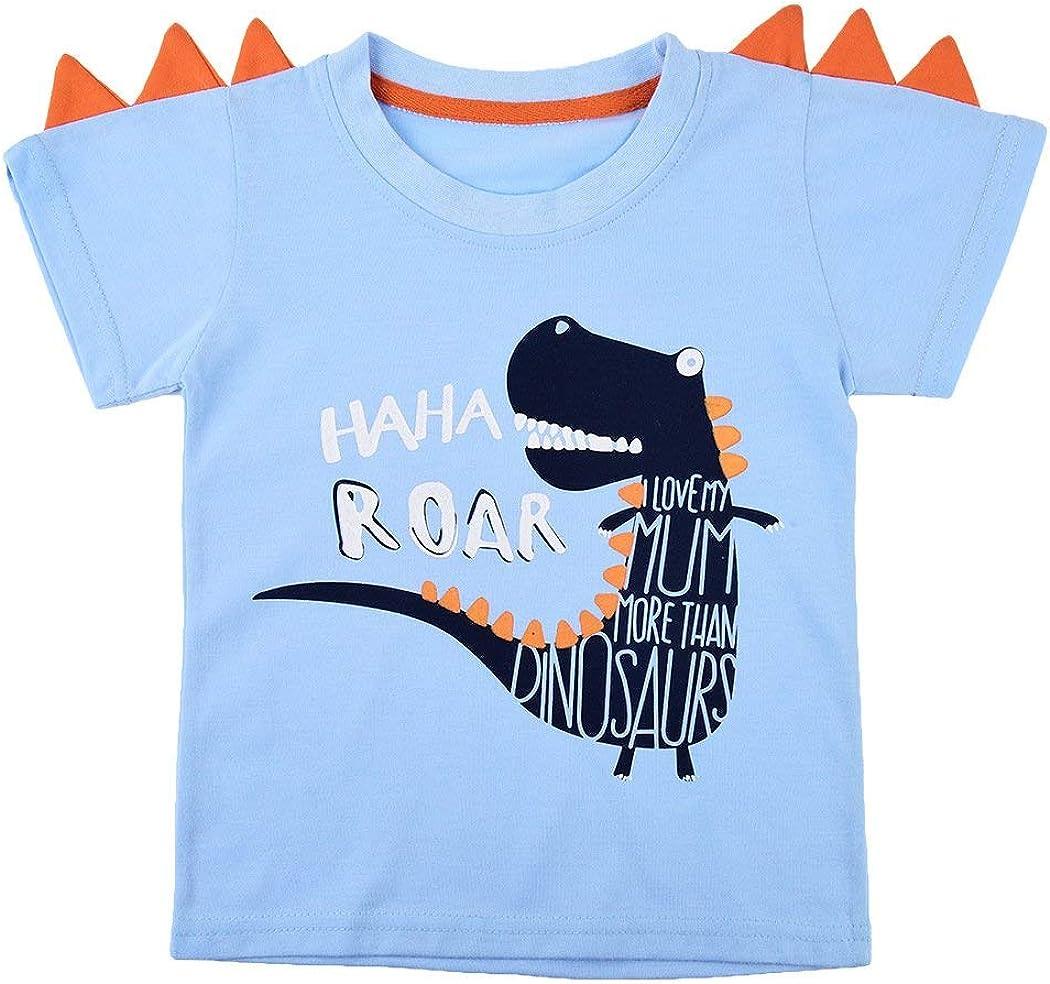 HowJoJo Boys Summer Cotton Short Sets Short Sleeve Dinosaur Print T-Shirts Shorts