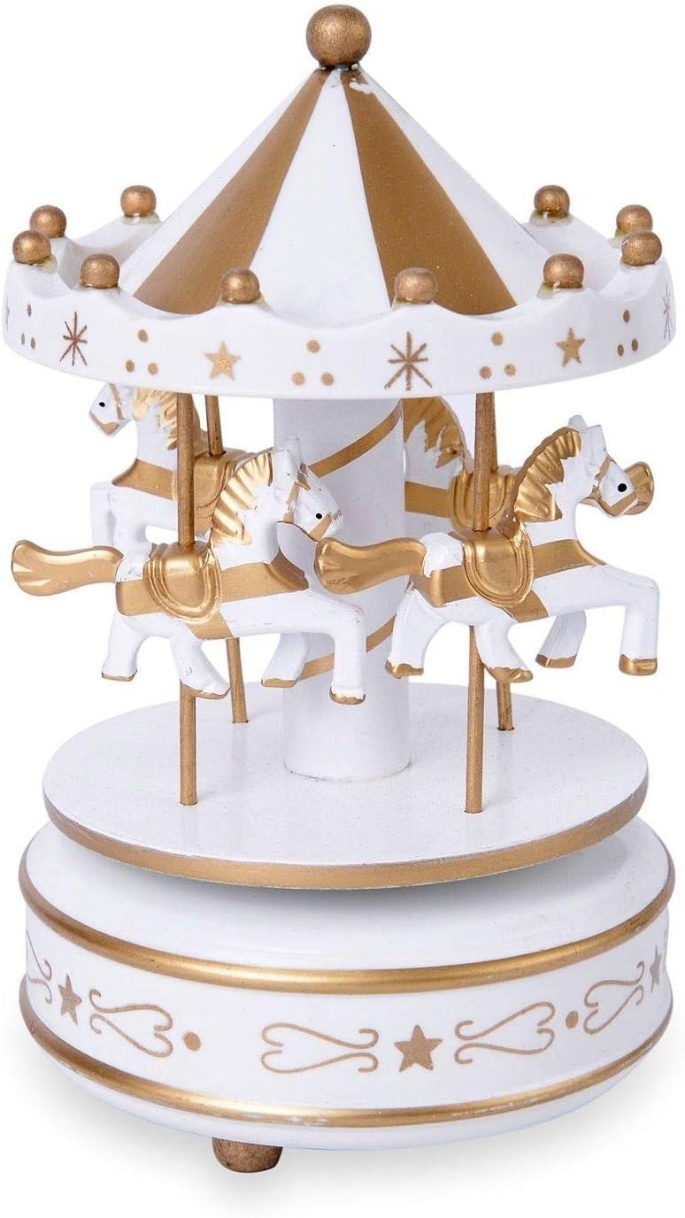 Shop LC Delivering Joy Home Decor White Golden 4 Horse Wooden Circus Carousel Music Box Kids Room Decor