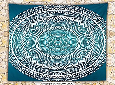 Turquoise Ombre Fleece Throw Blanket Mandala Medallion Starry Design with Flower in Middle Ethnic Indian Art Throw Teal