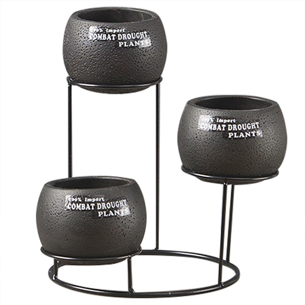 Flower Pot Set,European Style Desktop Succulent Plant Planter,Round Cement Pot,Breathable Black Cement Planter Set with Iron Stand Holder