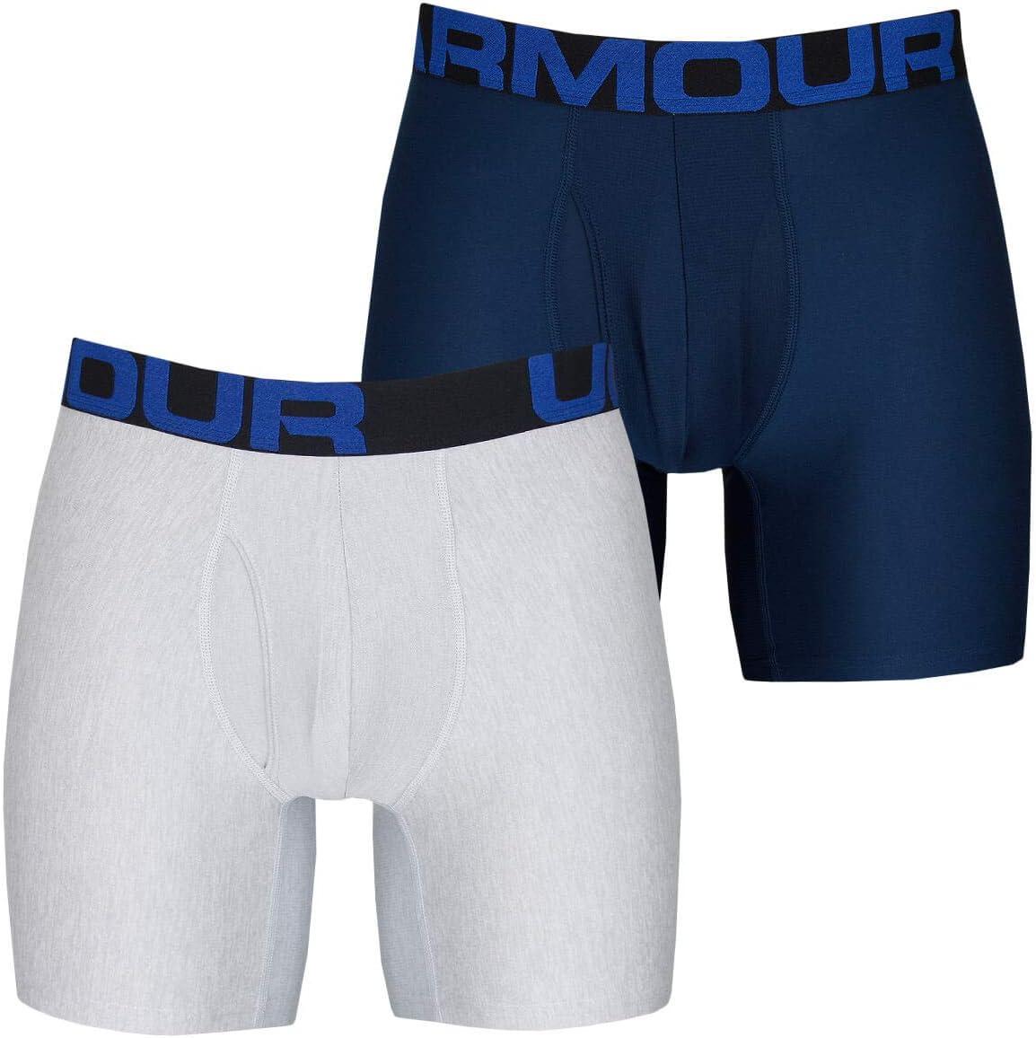 Da Uomo Under Armour Tech 6 Boxerjock 2 PACK IN BLU-Taglio aderente-materiale