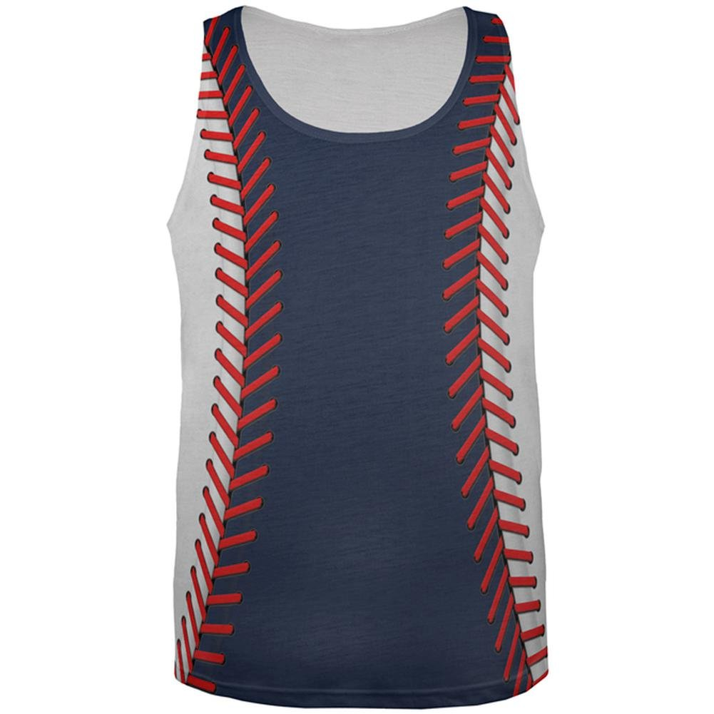 Old Glory Baseball League Navy Blue and White All Over Mens Tank Top
