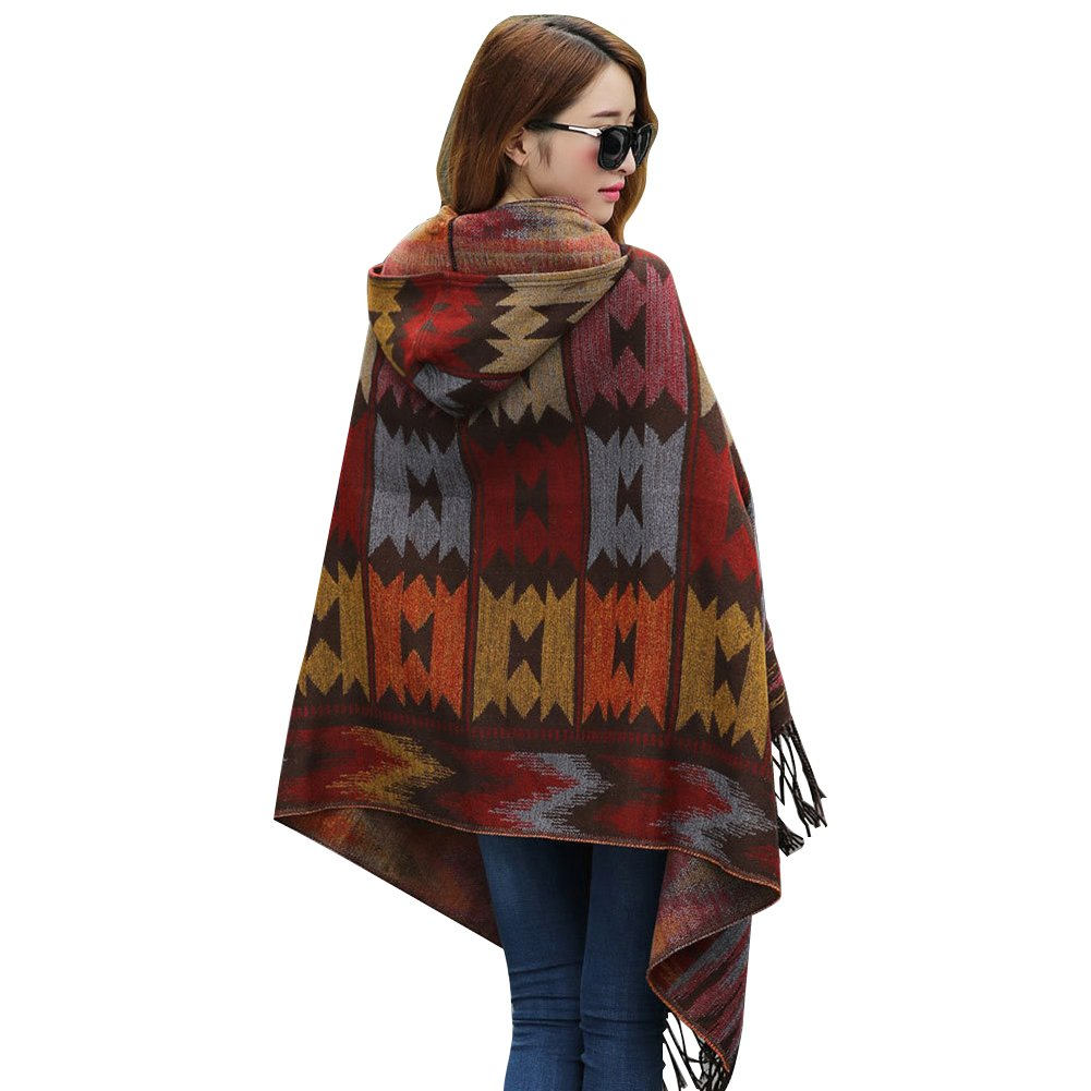 LSERVER Womens' Bohemian Wraps Hooded Capes Coat Shawls Cold Weather Brown