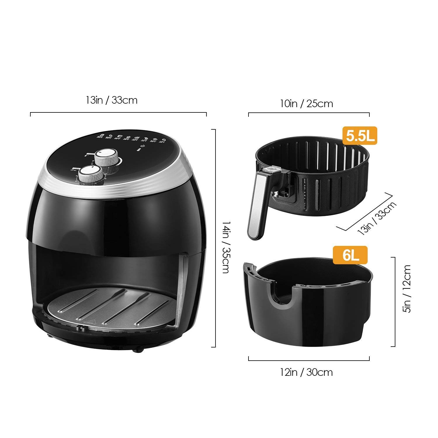 Air Fryer, Tidylife 6.3QT Large Air Fryer, 1700W Oilless XL Oven Cooker, Smart Time and Temperature Control, 7 Cooking Preset, 180-400℉Hot Air Fryer with Non-stick Basket, Auto Shut Off, 50+ Recipes by Tidylife (Image #7)