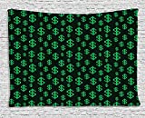 asddcdfdd Money Tapestry, Pixel Art Inspirations in Eighties Style Dollar Sign Banking Business, Wall Hanging for Bedroom Living Room Dorm, 80 W X 60 L Inches, Dark Green Lime Green