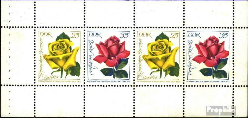 Prophila Collection DDR Hbl15A (1779-1780 als Heftchenblatt) 1972 Rosen (Briefmarken für Sammler) Pflanzen
