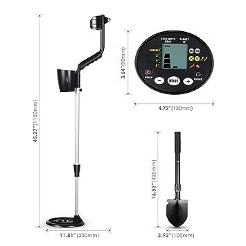 Detector de metales Intey, función todo en metal y de discriminación, detector de tono y profundidad, dispositivo de búsqueda de metal con pala plegable 4-1 ...