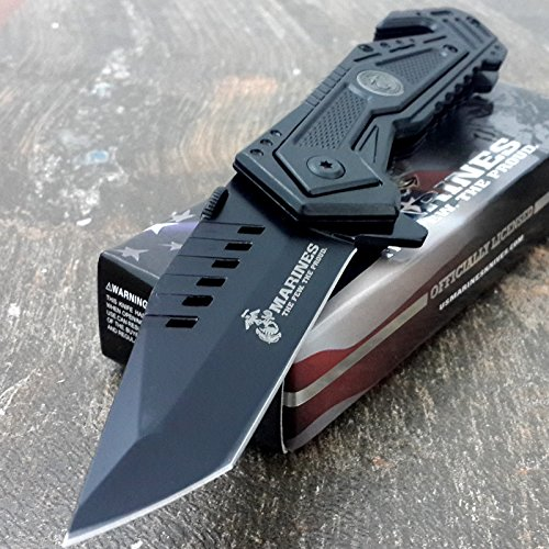 U.S. MARINES Knife Licensed USMC MARINES Assisted Military Knives BLACK Tactical Tanto