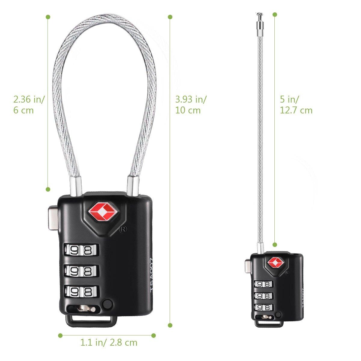 KeeKit TSA Approved Luggage Locks, 3 Digit Combination Lock, TSA Luggage Lock, Cable Lock for Travel, Suitcase, Baggage & Backpack, Gym Locker (Black, 2 Pack) by KeeKit (Image #6)