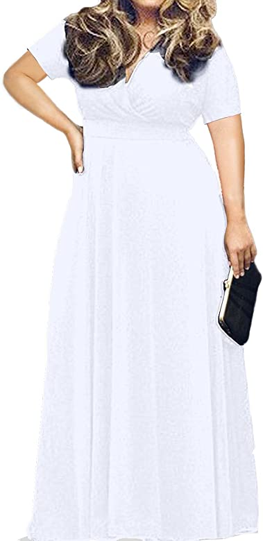 Women\'s Solid V-Neck Short Sleeve Plus Size Evening Party Maxi Dress