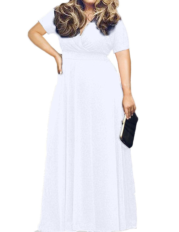 b64ce82ef04 POSESHE Women s Solid V-Neck Short Sleeve Plus Size Evening Party Maxi Dress  at Amazon Women s Clothing store