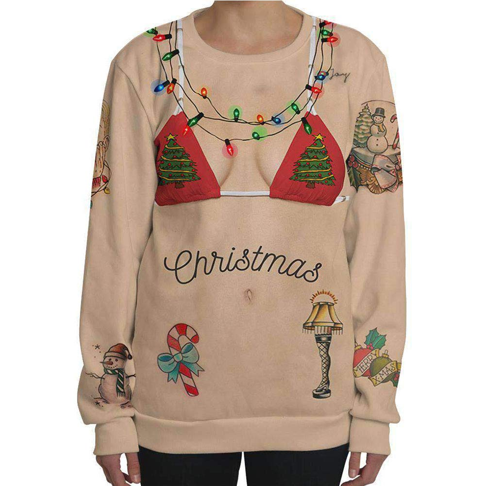 Unisex 3D Novelty Printed Pullover, S.Charma Women's Christmas Funny Sweatshirt