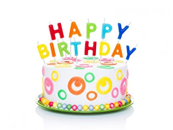 HAPPY BIRTHDAY CANDLES FUN Cake Decorations Toppers Birthday Decorating Novelty Party Colourful Letter