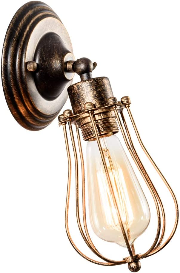 LULING Industrial Wall Sconce Vintage Lighting Adjustable Lamp Socket Wire Metal Cage Wall Light Shade Edison Style Antique Fixture Porch Mirror (No Bulb) (Bronze Color) (Bronze)