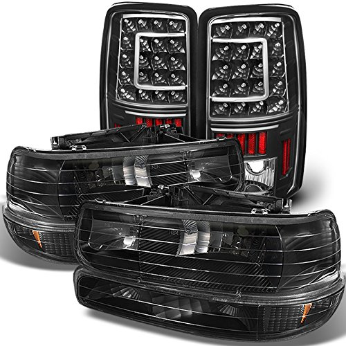 For 00-06 Chevy Suburban 1500 2500 Tahoe Black Headlights Lamp + C Shape LED Tail light Set -