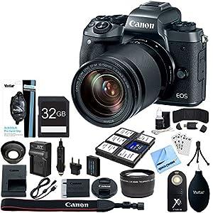 Canon EOS M5 Mirrorless Digital Camera Black + EF-M 18-150mm IS STM Lens Kit + 32GB SDXC Memory Card + 8 Pcs Accessory Bundle