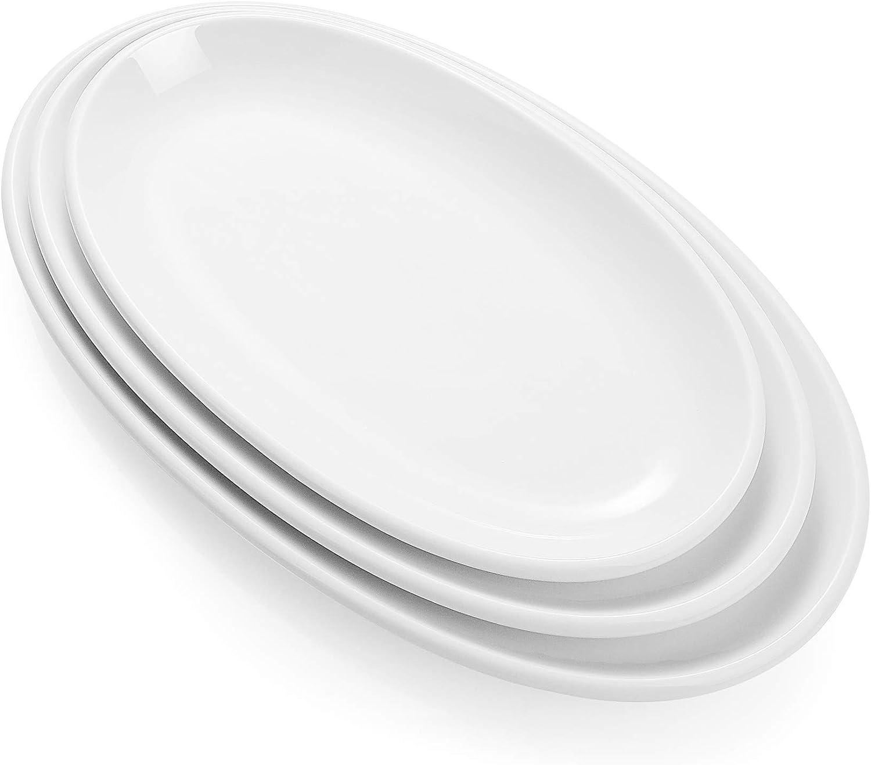 Sweese 742.101 Oval Serving Platters, White Porcelain Serving Platters for Party, Large Oval Serving Trays Serving Plates for Fish Dish, Steak, Restaurant, Dessert Shop, Set of 3, 12.5/14/15.5 Inches