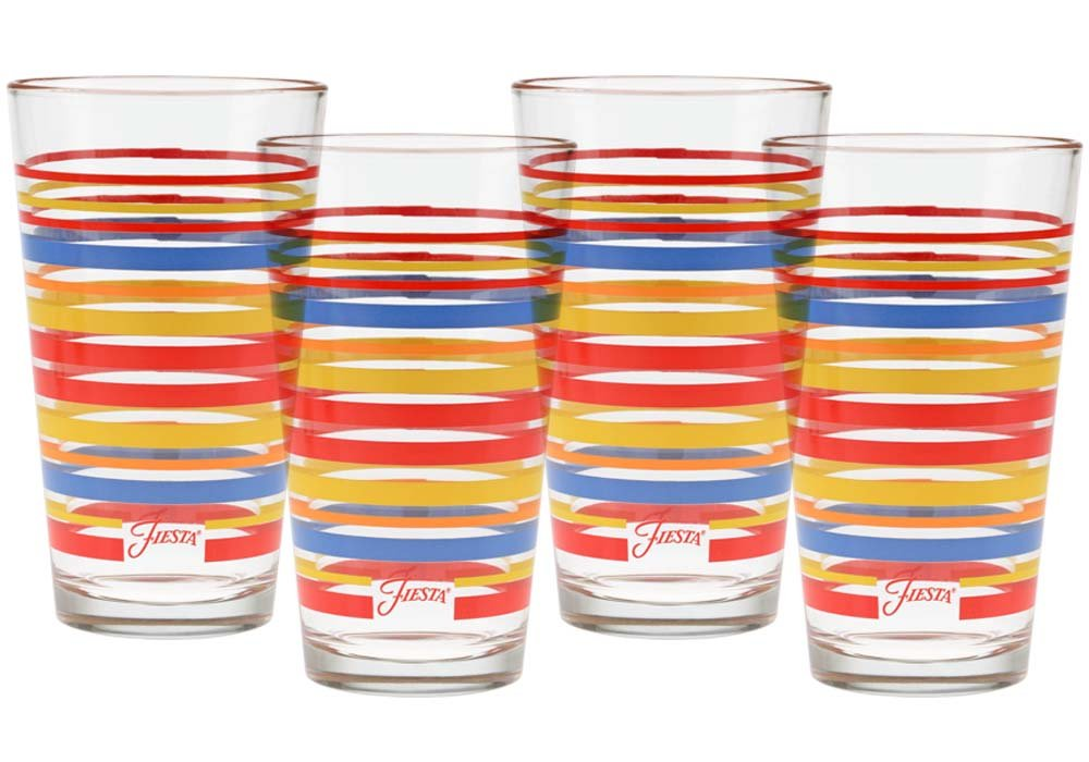 CULVER Fiesta Scarlet Stripe 16-Ounce Tapered Cooler Glass (Set of 4) - 121-032