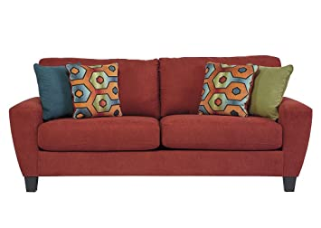 Ashley Furniture Signature Design - Sagen Sleeper Sofa - Contemporary Style  Couch - Queen Size - Sienna Red