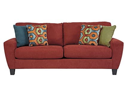 Beau Ashley Furniture Signature Design   Sagen Sleeper Sofa   Contemporary Style  Couch   Queen Size