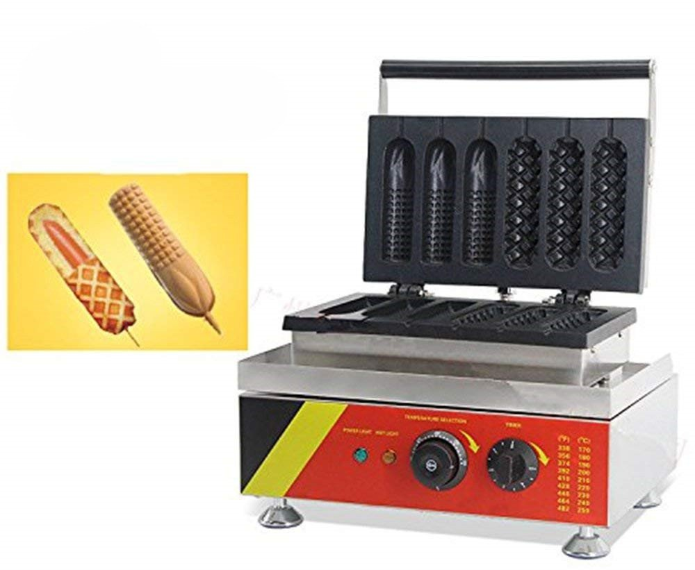 NP-528 6pcs Commercial Hot Dog Waffle Maker Electric Muffin Waffle Machine No-stick Waffle Baker 110V/220V CE Certification: Amazon.es: Hogar