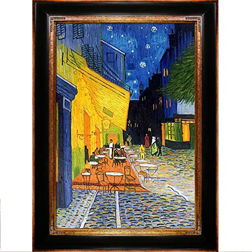 La Pastiche overstockArt Vincent Van Gogh Cafe Terrace at Night 24-Inch by 36-Inch Framed Oil on Canvas ()