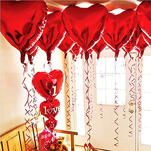 (BinaryABC Mother Day Decorations,Foil Balloons,Love Heart Shape Helium Valentines Wedding Birthday Party Decorations,Approx,45cm,10 Pieces(Red))