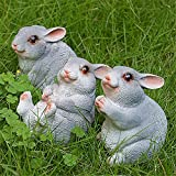 Cheap Danmu 3pcs a Set Small Polyresin Rabbit Bunny Statue Indoor Outdoor Decor (C)