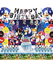 Sonic Birthday Party Supplies for Kids, 75pcs Birthday Party Decorations Include Happy Birthday Banner, Backdrop, Hanging Swirls Decorations, Foil Balloons, Latex Balloons, Cake Topper, Table Cover