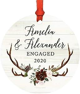 Andaz Press Personalized Wedding Engagement Round Christmas Keepsake Ornament, Amelia & John Engaged 2020, Rustic Boho Burgundy Marsala Deer Antlers, 1-Pack, Includes Ribbon and Gift Bag, Custom Name