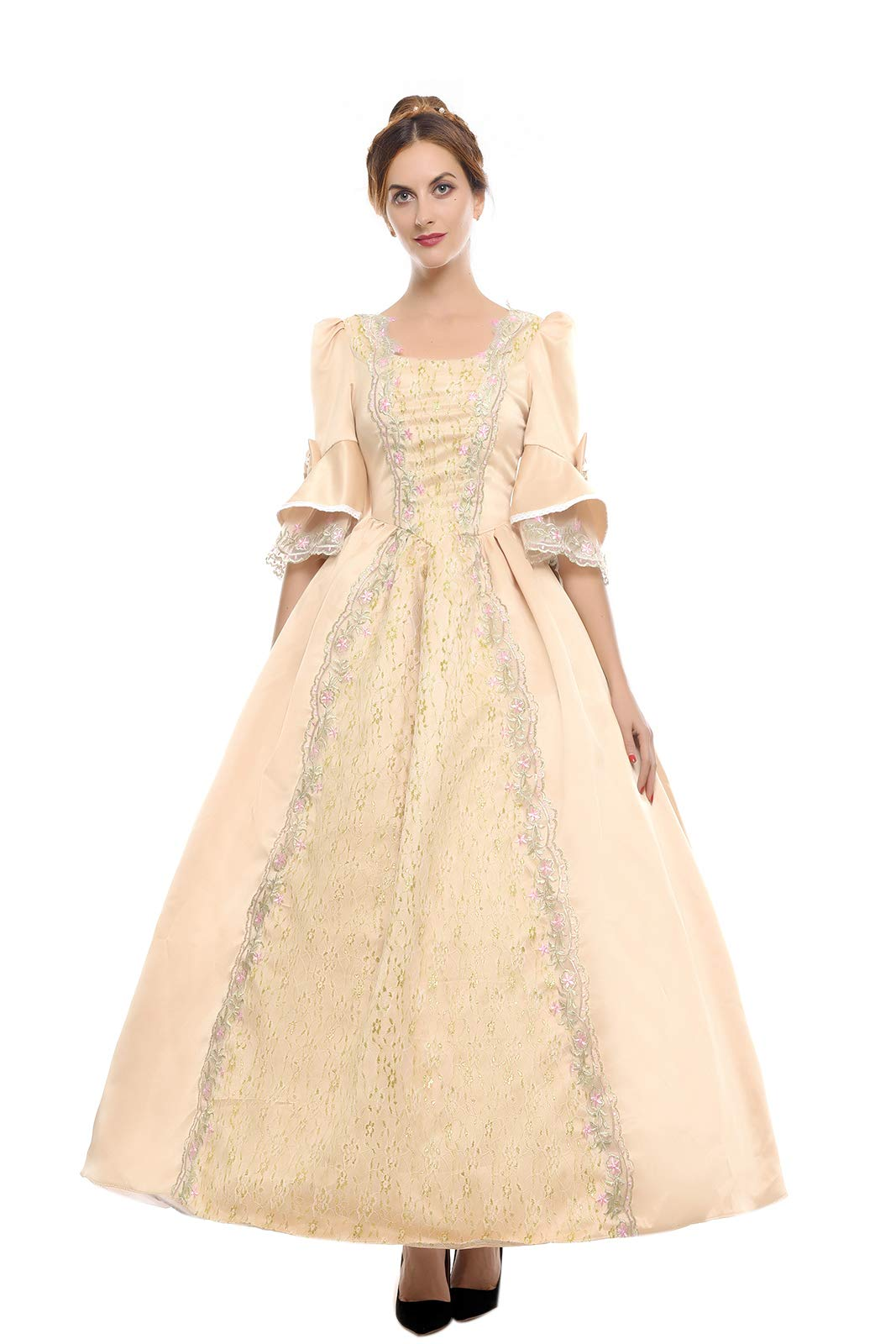 3990aaf5c3aad Galleon - ROLECOS Womens Royal Vintage Medieval Dresses Lady Satin Gothic Masquerade  Dress Golden