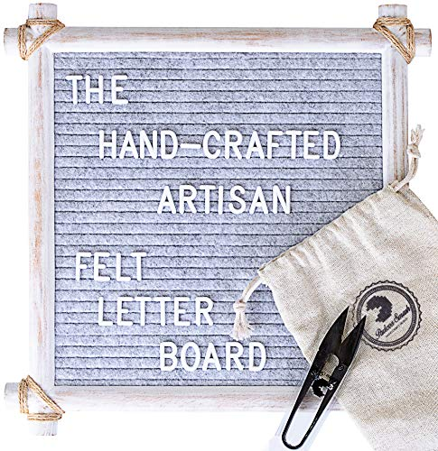Hand Crafted Felt Letter Board | Unique Design with Rustic Wood & Rope | Artisan Vintage Frame + Back Stand | 12x12 Inch Antique Changeable Message Board 350 White Alphabet Letters, Numbers & Emojis